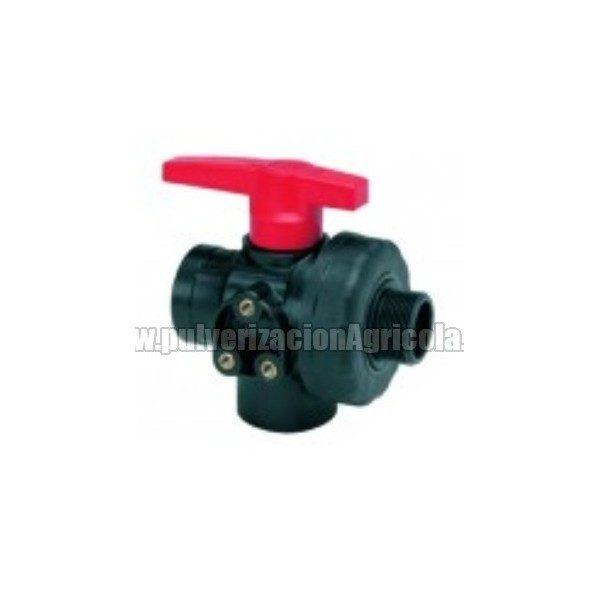 Valvula esfera de plástico 3 vias 1″1/4 flujo continuo